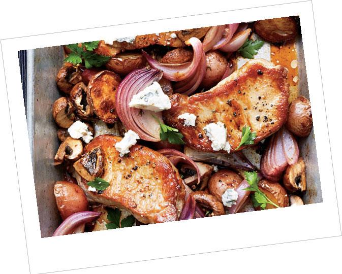 BBQ Pork Chops on Sesame & Maple Roasted Vegetable Bake
