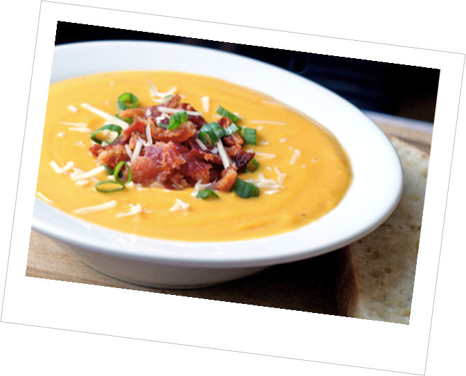 Bacon Butternut Squash Soup with Cheddar Bacon Chive Bread