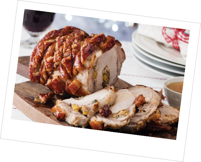 Loin of Pork with Apricot & Walnut Stuffing with a Pepper Sauce