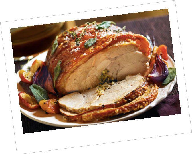 Roast Pork with a Cheese Topping served with Tarragon